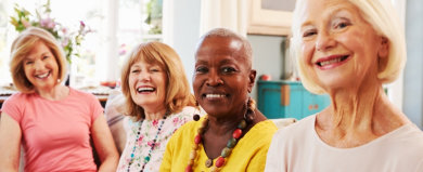 group of senior woman smiling